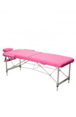HY-2010-1.3 | Массажный стол 2-х секционный (алюмин. рама) розовый