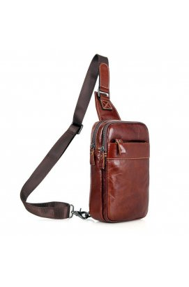 Кожаный мини-рюкзак на одну шлейку John McDee 4002B Коричневый