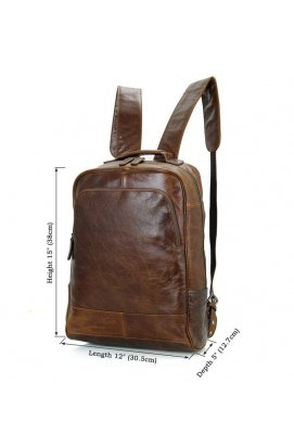 Мужской кожаный рюкзак для ежедневного использования John McDee 7347B
