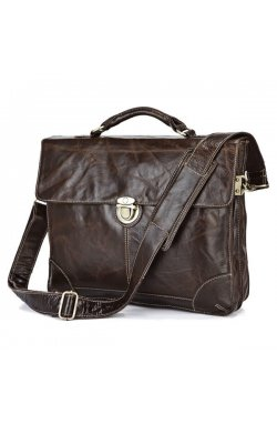 Кожаный портфель мужской, бриф, slim-дизайн 7091Q John McDee
