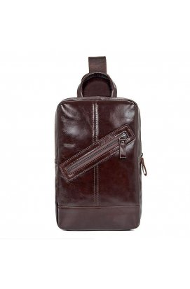 Мужской кожаный рюкзак на одно плечо John McDee 4010C Chocolate - шоколадный