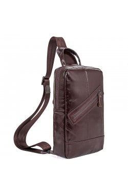 Мужской кожаный рюкзак на одно плечо John McDee 4010C