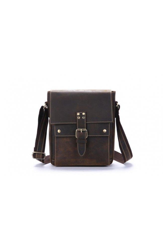 Фирменная кожаная сумка через плечо, цвет коричневый, Bexhill bx041