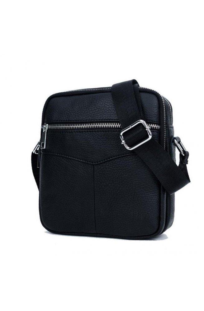 Маленькая мужская сумка Bull T1348 из черной телячьей кожи