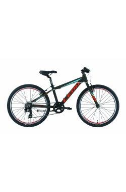 """Велосипед 24"""" Leon JUNIOR RIGID 2019 (черно-красный с синим)"""