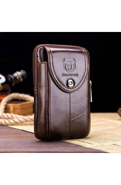 Напоясная сумка-чехол для смартфона T1397 Bull из натуральной кожи