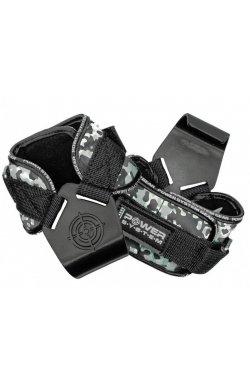 Крюки для тяги на запястья Power System Hooks Camo PS-3370 Black-Grey L