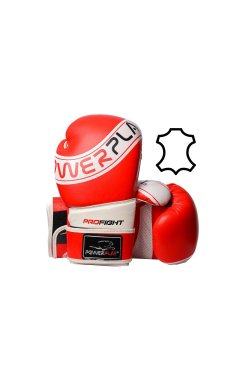 Боксерские перчатки PowerPlay 3023MMA Червоно-Белые [натуральная кожа]