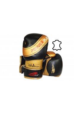 Боксерские перчатки PowerPlay 3023 Чорно-Золоті [натуральная кожа]