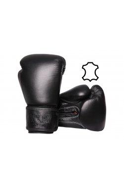 Боксерские перчатки PowerPlay 3014 Чорні [натуральная кожа]
