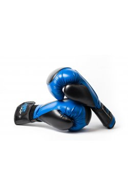 Боксерские перчатки PowerPlay 3020 Синьо-Чорні [натуральная кожа] + PU