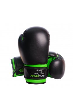 Боксерские перчатки PowerPlay 3004 JR Чорно-Зелені