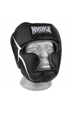 Боксерський шолом тренировочный PowerPlay 3066 PU + Amara Чорний