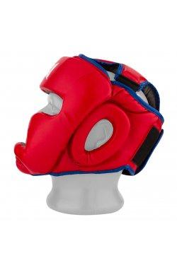 Боксерський шолом тренировочный PowerPlay 3068 PU + Amara Красно-Синией X