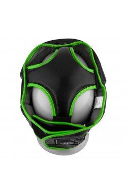 Боксерський шолом тренировочный PowerPlay 3068 PU + Amara Чорно-Зелений