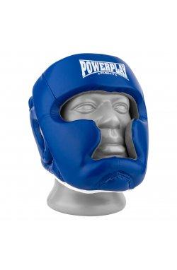 Боксерський шолом тренировочный PowerPlay 3068 PU + Amara Сине-Белый