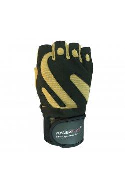 Перчатки для фитнеса PowerPlay 1064 F Чорно-Коричневі