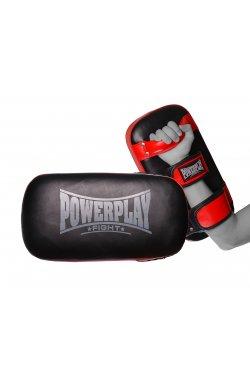 Пади для тайського боксу PowerPlay 3064 Чорно-Красные Шкіра [пара]