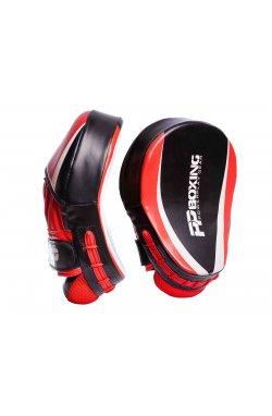 Лапы боксерские PowerPlay 3050 Чорно-Красные PU [пара]