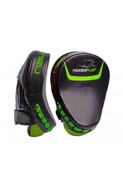 Лапы боксерские PowerPlay 3041 Чорно-Зеленые PU [пара]