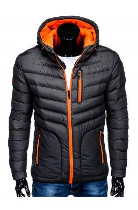 Men's mid-season quilted jacket C356 - dark grey