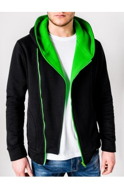 MEN'S ZIP-UP HOODIE PRIMO - черный/зеленый