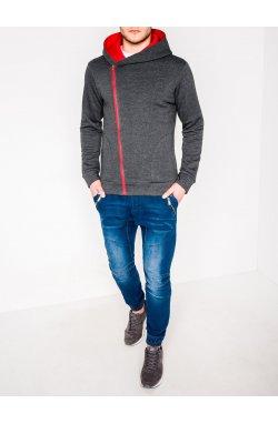 MEN'S ZIP-UP HOODIE PRIMO - темно - серый//красный