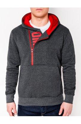 Men's printed hoodie DENIS - Темно- Серый/ красный