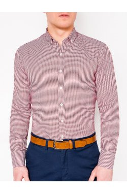 MEN'S CHECK SHIRT WITH LONG SLEEVES K400 - красный