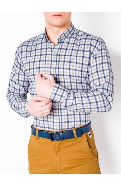 MEN'S CHECK SHIRT WITH LONG SLEEVES K444 - Белый/бежевый