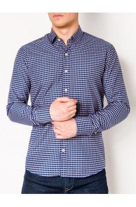 Рубашка мужская R453 - Синий/Рыжий