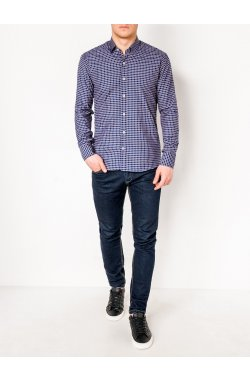 MEN'S CHECK SHIRT WITH LONG SLEEVES K453 - синий/Рыжий