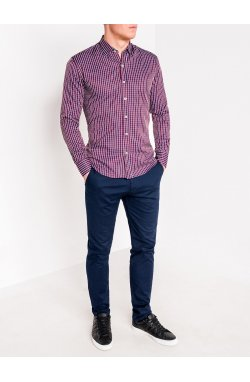 MEN'S CHECK SHIRT WITH LONG SLEEVES K441 - красный/синий