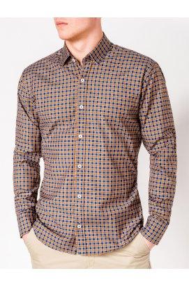Рубашка мужская R436 - Синий/Рыжий
