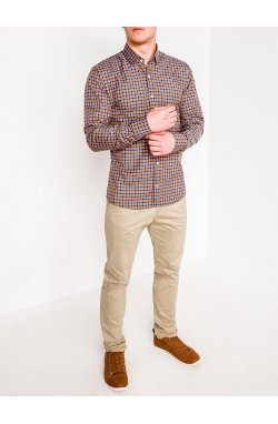 MEN'S CHECK SHIRT WITH LONG SLEEVES K436 - синий/Рыжий