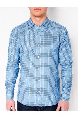 Рубашка мужская R440 - светло - голубой/зеленый