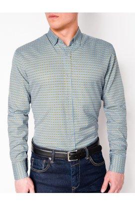 Рубашка мужская R439 - светло - голубой/желтый