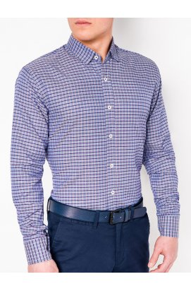 Рубашка мужская R439 - светло - голубой/красный
