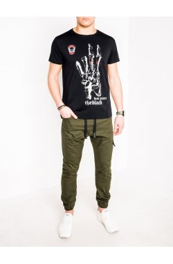 MEN'S PRINTED T-SHIRT S1084 - черный
