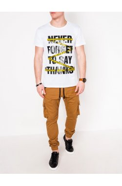 MEN'S PRINTED T-SHIRT S1085 - Белый