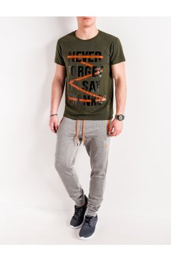 MEN'S PRINTED T-SHIRT S1085 - хаки