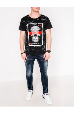 MEN'S PRINTED T-SHIRT S1086 - черный