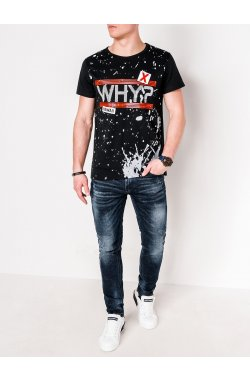 MEN'S PRINTED T-SHIRT S1087 - черный