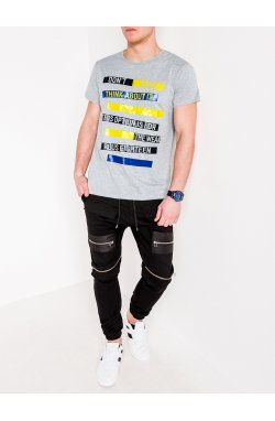 MEN'S PRINTED T-SHIRT S1088 - серый