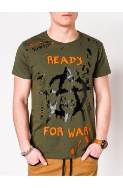 MEN'S PRINTED T-SHIRT S1090 - хаки