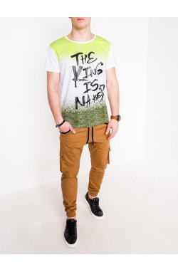 MEN'S PRINTED T-SHIRT S1094 - LIME/хаки