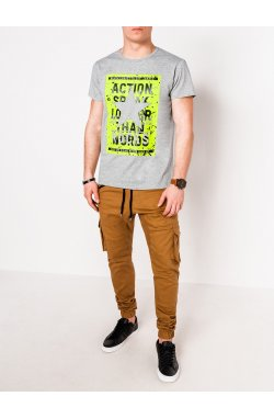 MEN'S PRINTED T-SHIRT S1095 - серый
