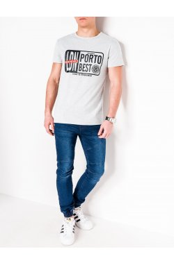 MEN'S PRINTED T-SHIRT S1063 - серый