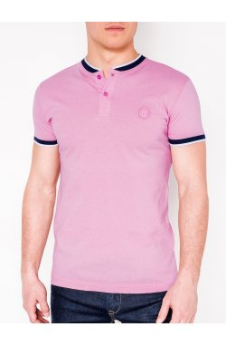 MEN'S PLAIN POLO SHIRT S843 - розовый/синий