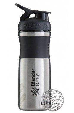 Спортивная бутылка-шейкер BlenderBottle SportMixer Stainless Steel Black 820мл (из нержавеющ